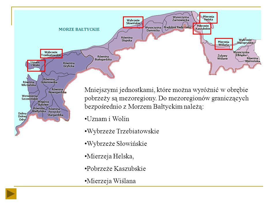 Mniejszymi jednostkami, które można wyróżnić w obrębie pobrzeży są mezoregiony. Do mezoregionów graniczących bezpośrednio z Morzem Bałtyckim należą: