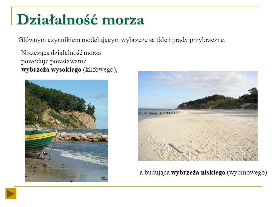 Działalność morza Głównym czynnikiem modelującym wybrzeże są fale i prądy przybrzeżne.