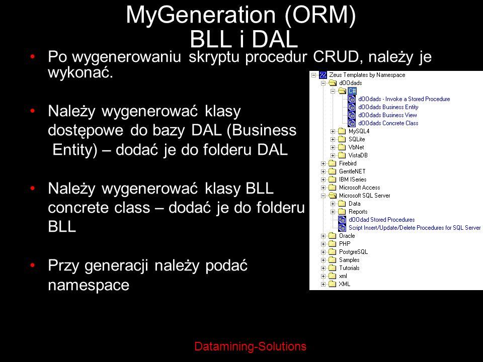 MyGeneration (ORM) BLL i DAL