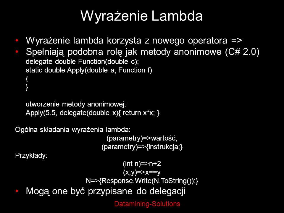 Wyrażenie Lambda Wyrażenie lambda korzysta z nowego operatora =>