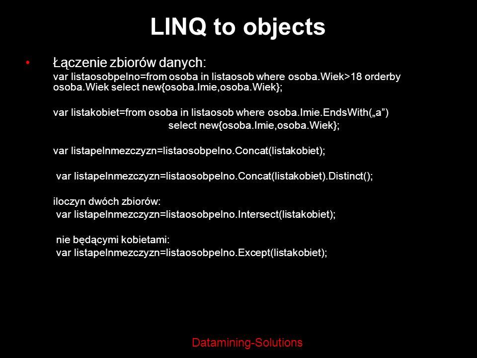 LINQ to objects Łączenie zbiorów danych: