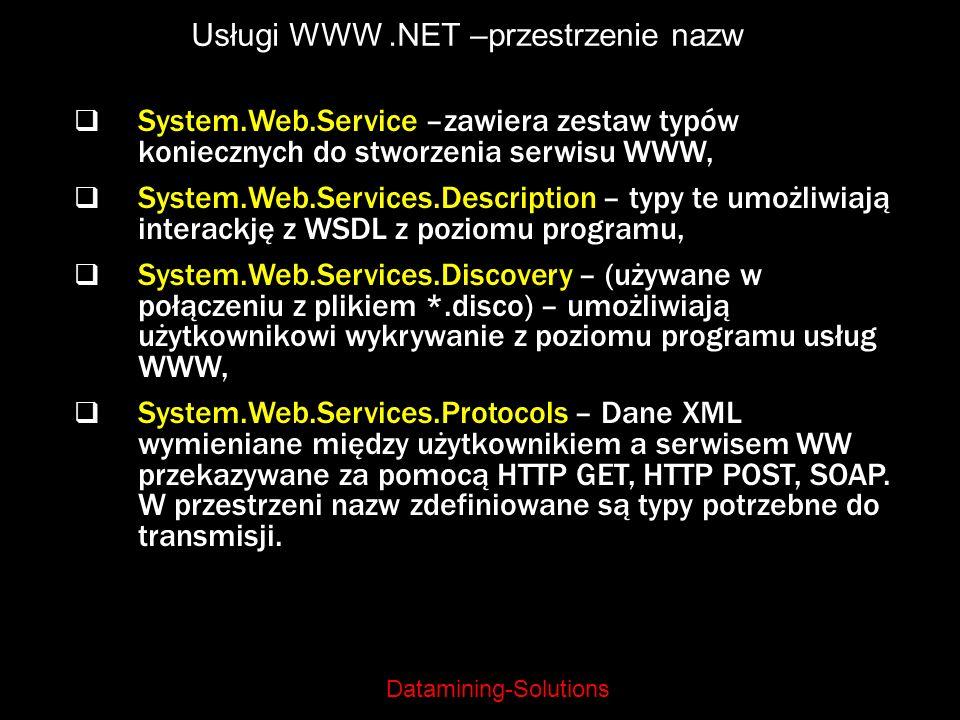 Usługi WWW .NET –przestrzenie nazw