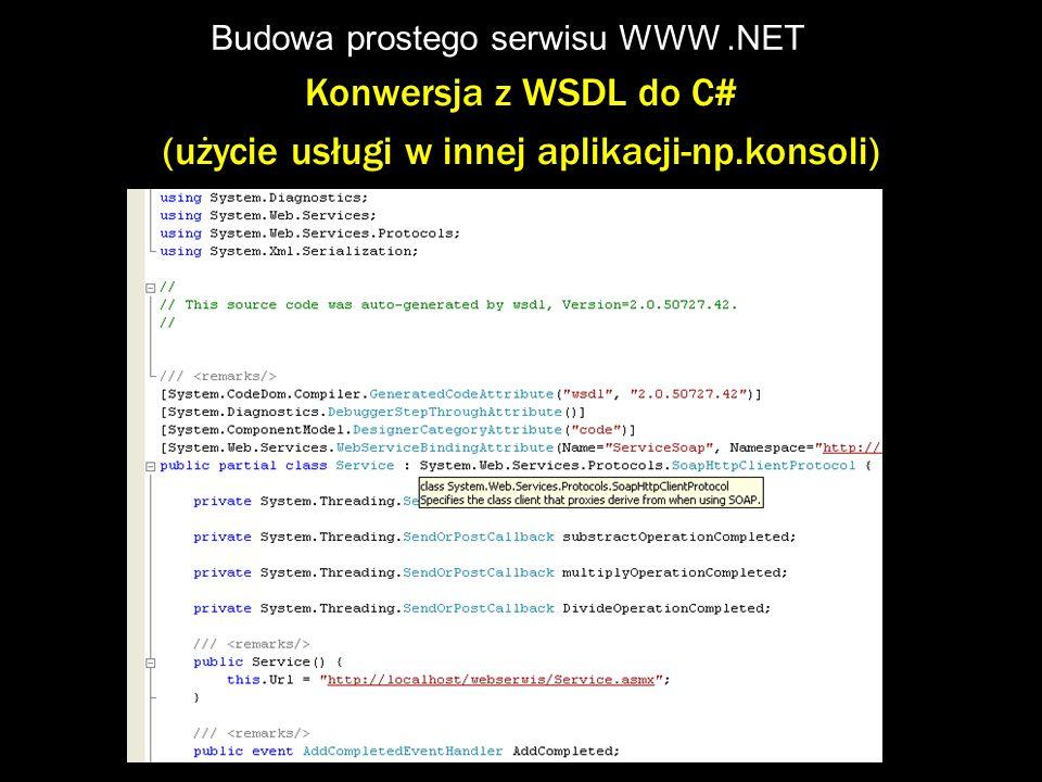Budowa prostego serwisu WWW .NET