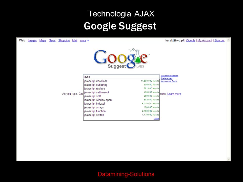Technologia AJAX Google Suggest