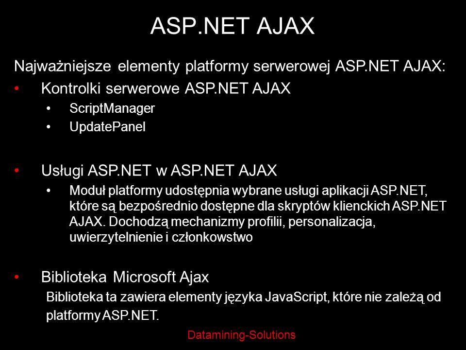ASP.NET AJAX Najważniejsze elementy platformy serwerowej ASP.NET AJAX: