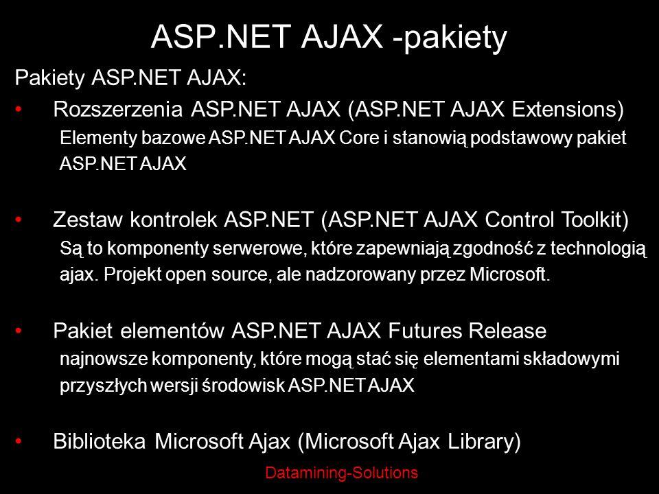 ASP.NET AJAX -pakiety Pakiety ASP.NET AJAX: