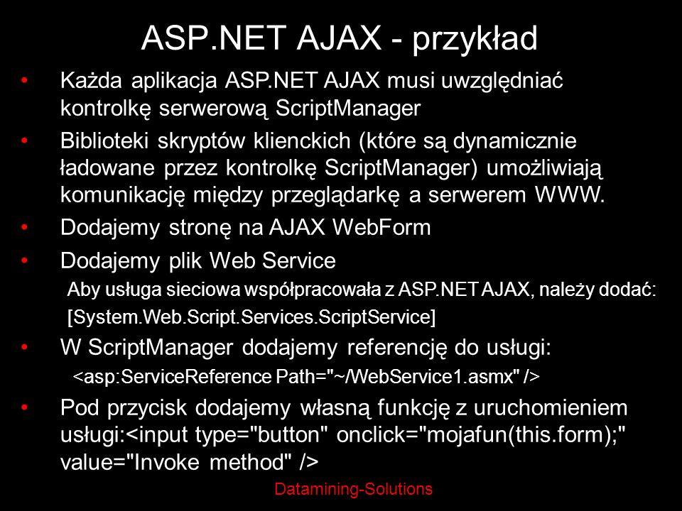 ASP.NET AJAX - przykład Każda aplikacja ASP.NET AJAX musi uwzględniać kontrolkę serwerową ScriptManager.