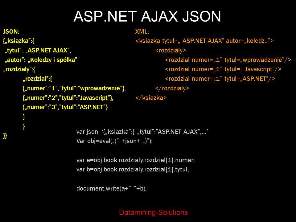 "ASP.NET AJAX JSON JSON: {""ksiazka :{ ""tytul : ""ASP.NET AJAX ,"