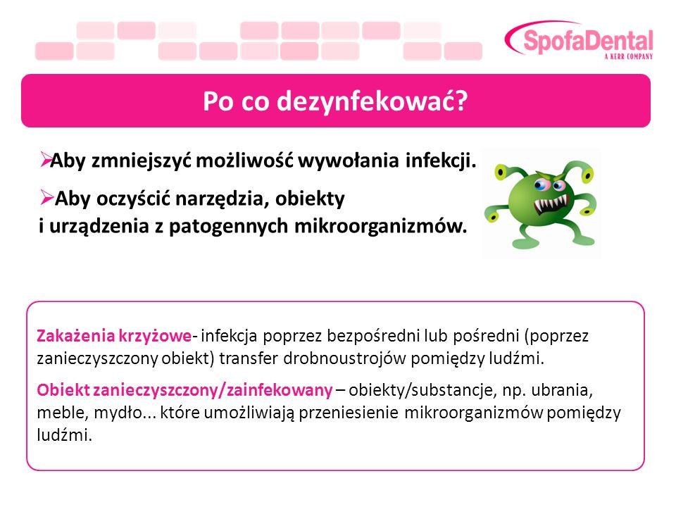 Po co dezynfekować Aby zmniejszyć możliwość wywołania infekcji.