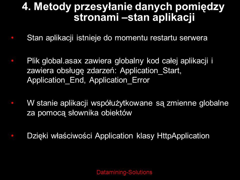 4. Metody przesyłanie danych pomiędzy stronami –stan aplikacji