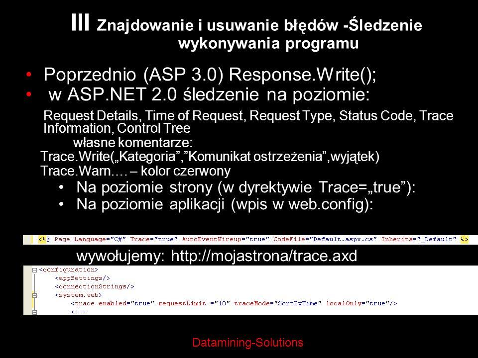 III Znajdowanie i usuwanie błędów -Śledzenie wykonywania programu