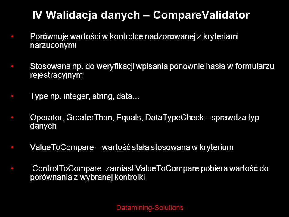 IV Walidacja danych – CompareValidator