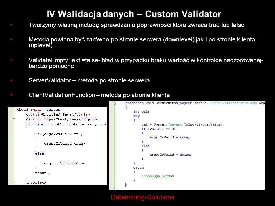 IV Walidacja danych – Custom Validator