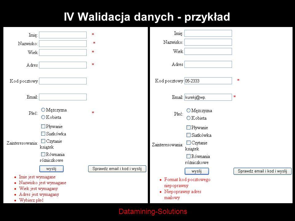 IV Walidacja danych - przykład
