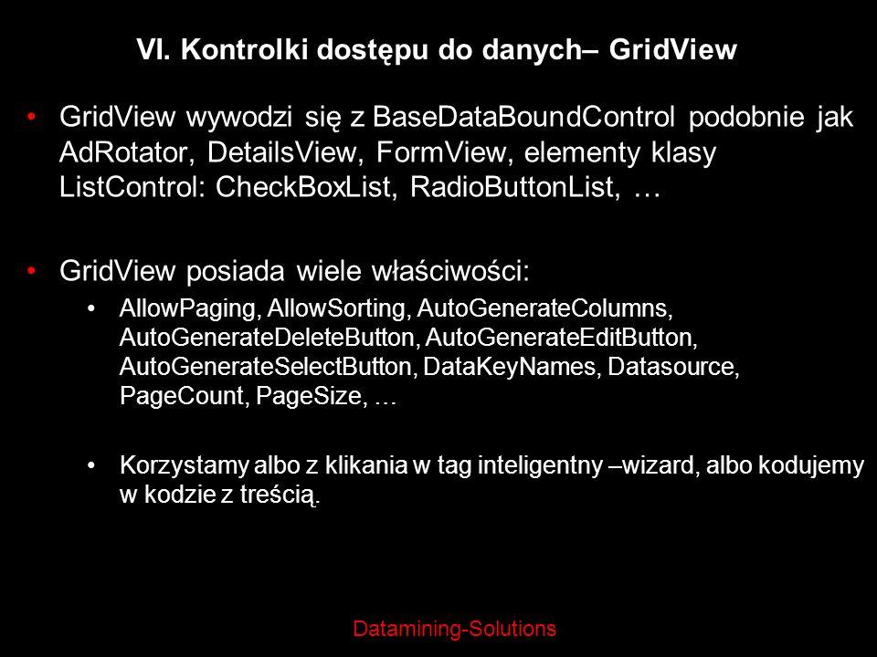 VI. Kontrolki dostępu do danych– GridView