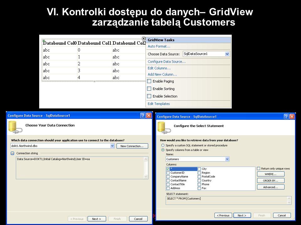 VI. Kontrolki dostępu do danych– GridView zarządzanie tabelą Customers