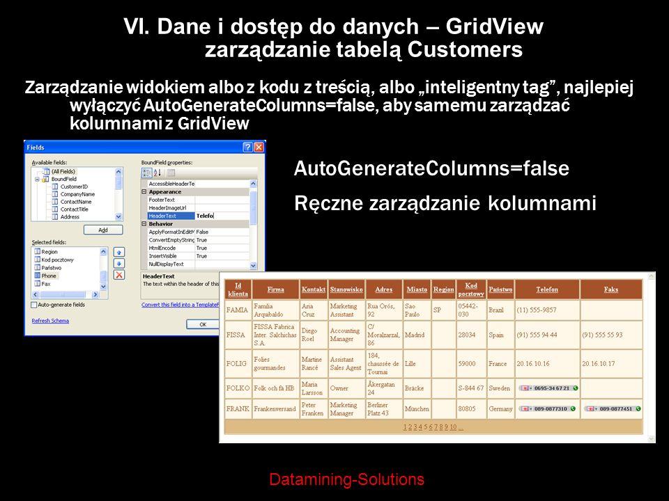 VI. Dane i dostęp do danych – GridView zarządzanie tabelą Customers