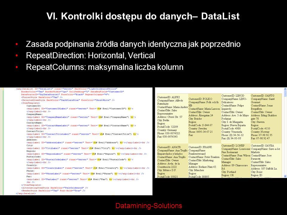VI. Kontrolki dostępu do danych– DataList