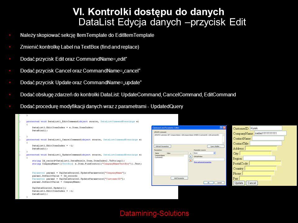 VI. Kontrolki dostępu do danych DataList Edycja danych –przycisk Edit