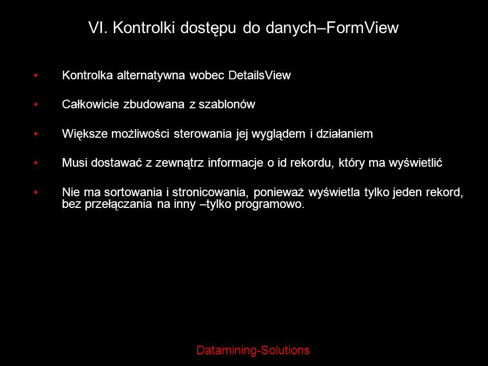 VI. Kontrolki dostępu do danych–FormView