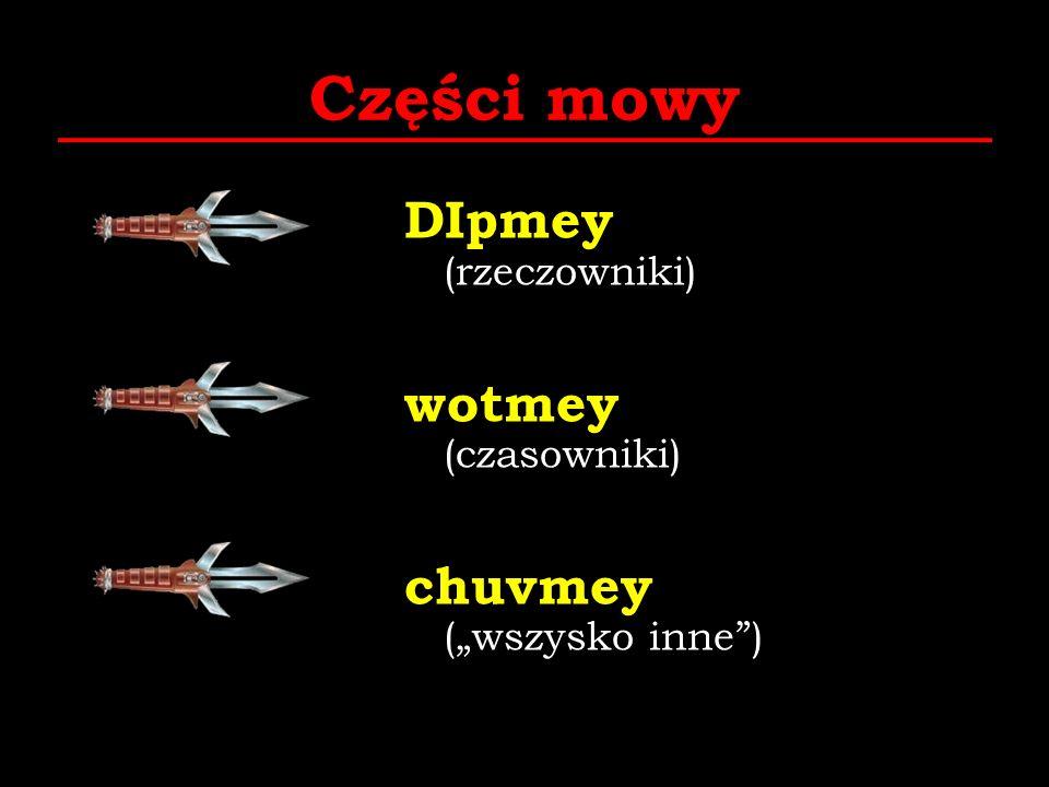 """Części mowy DIpmey (rzeczowniki) wotmey (czasowniki) chuvmey (""""wszysko inne )"""