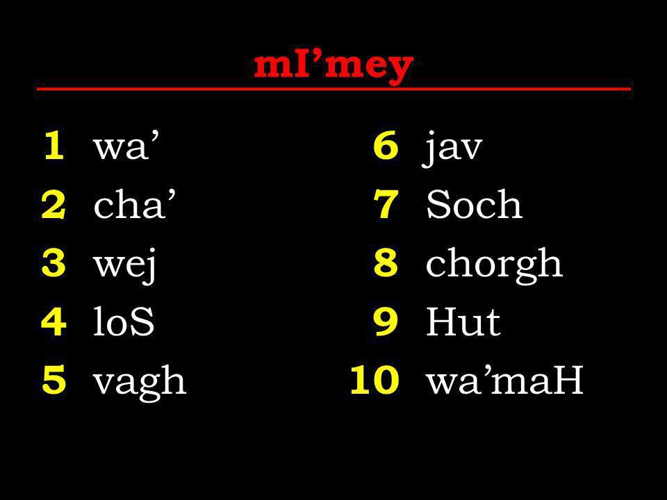 mI'mey 1 wa' 2 cha' 3 wej 4 loS 5 vagh 6 jav 7 Soch 8 chorgh 9 Hut 10 wa'maH