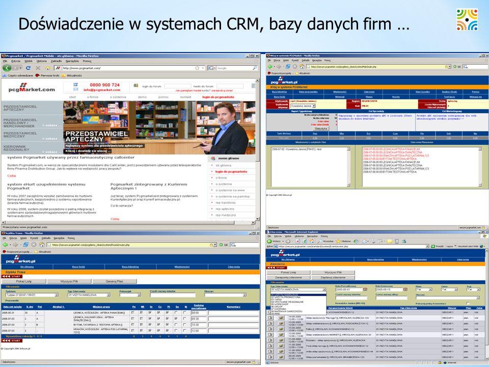 Doświadczenie w systemach CRM, bazy danych firm …