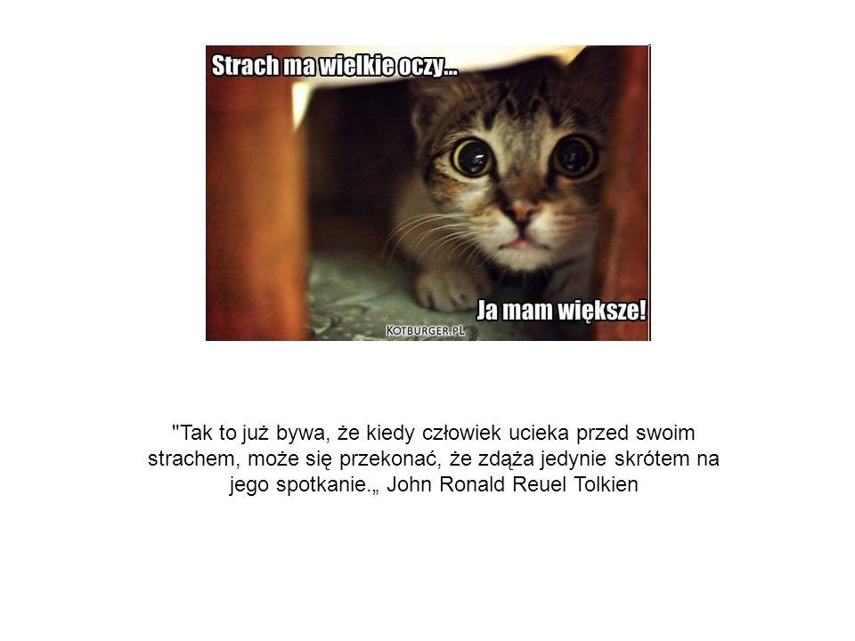 """Tak to już bywa, że kiedy człowiek ucieka przed swoim strachem, może się przekonać, że zdąża jedynie skrótem na jego spotkanie."""" John Ronald Reuel Tolkien"""