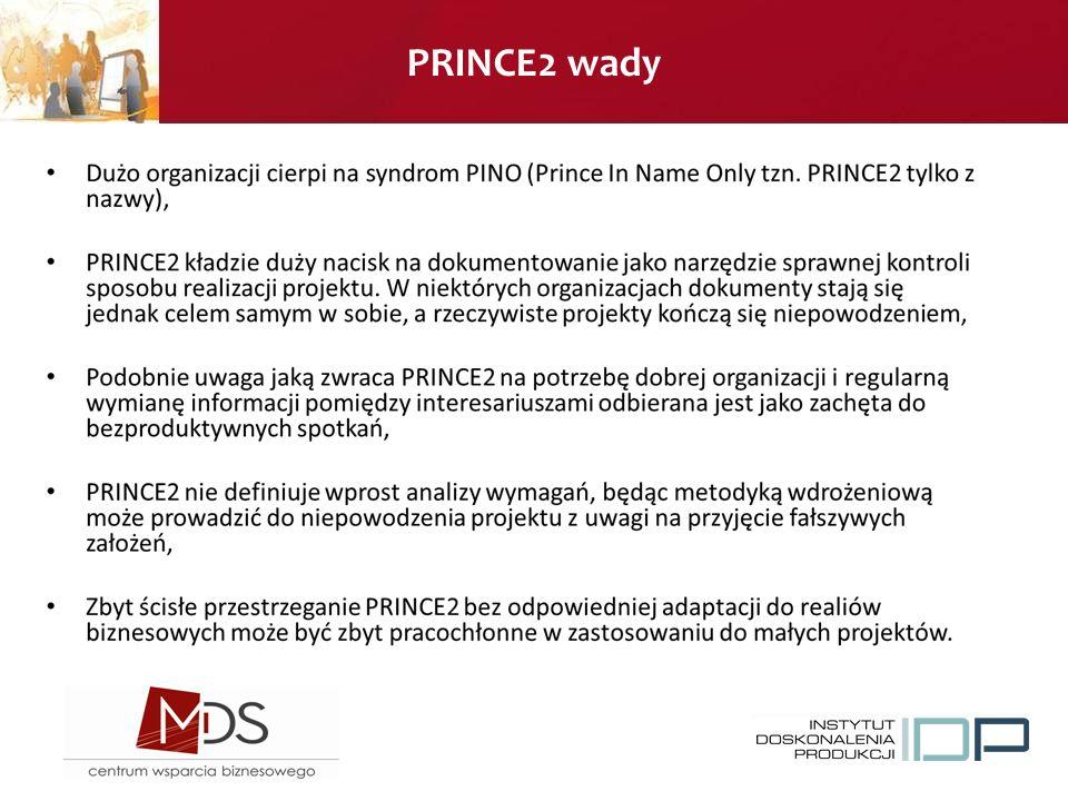 PRINCE2 wady
