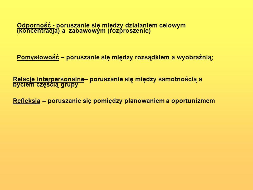 Odporność - poruszanie się między działaniem celowym (koncentracja) a zabawowym (rozproszenie)