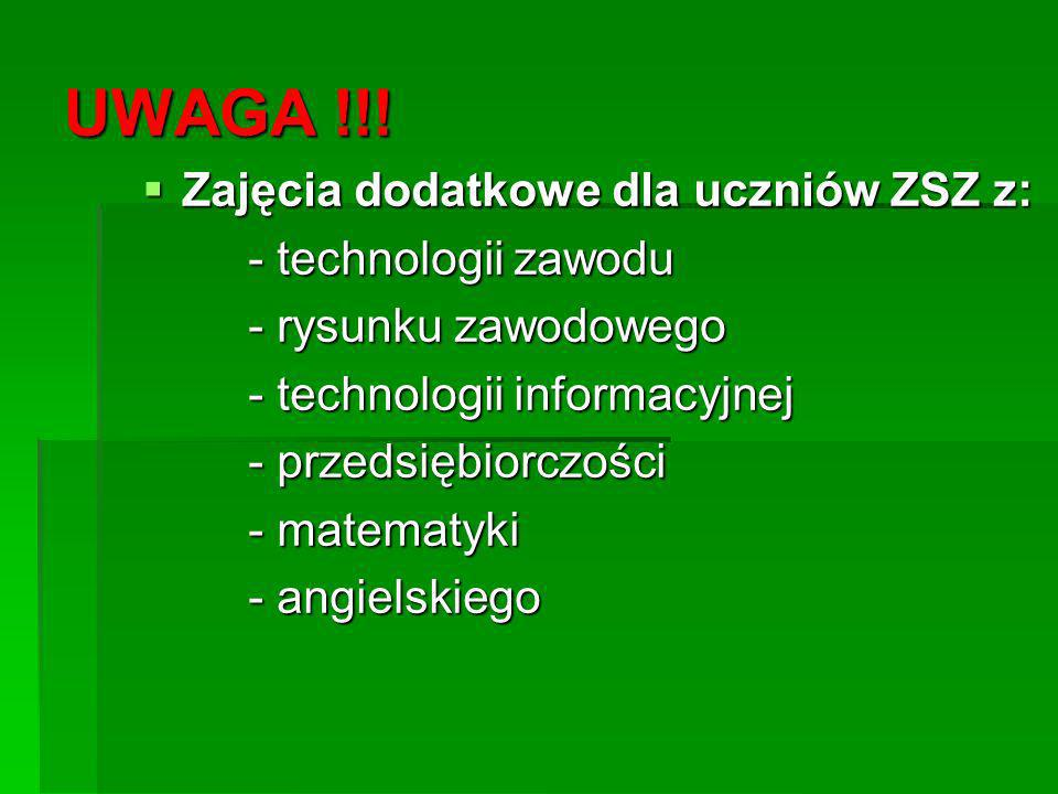 UWAGA !!! Zajęcia dodatkowe dla uczniów ZSZ z: - technologii zawodu