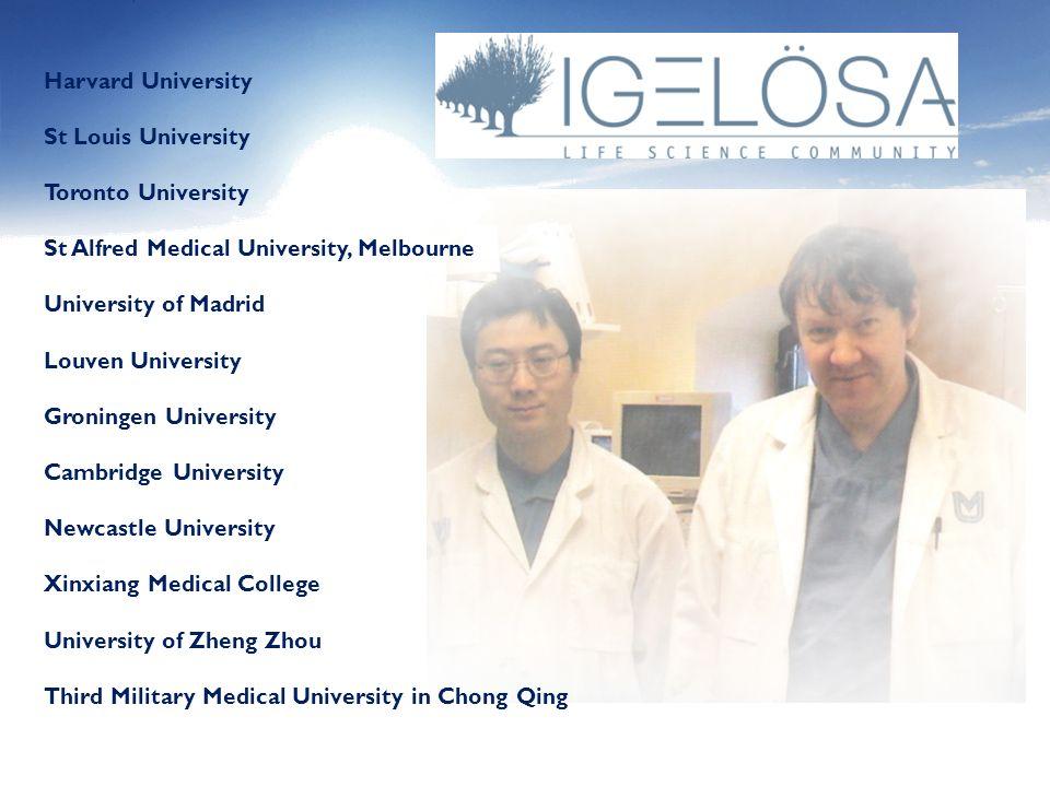 Harvard UniversitySt Louis University. Toronto University. St Alfred Medical University, Melbourne.
