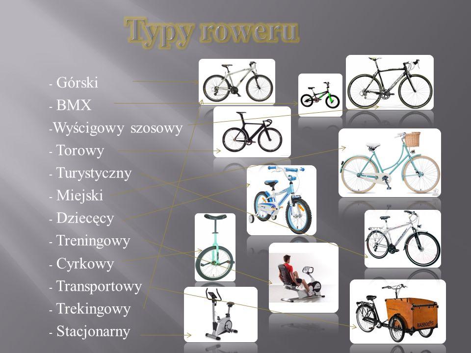 Typy roweru Górski BMX Wyścigowy szosowy Torowy Turystyczny Miejski
