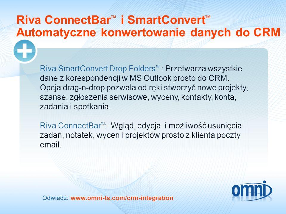 09/18/09 09/18/09. Riva ConnectBarTM i SmartConvertTM Automatyczne konwertowanie danych do CRM.
