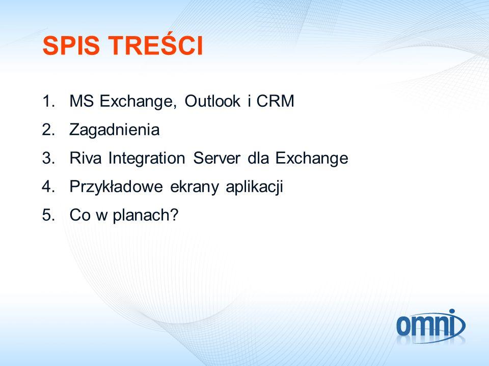 SPIS TREŚCI MS Exchange, Outlook i CRM Zagadnienia