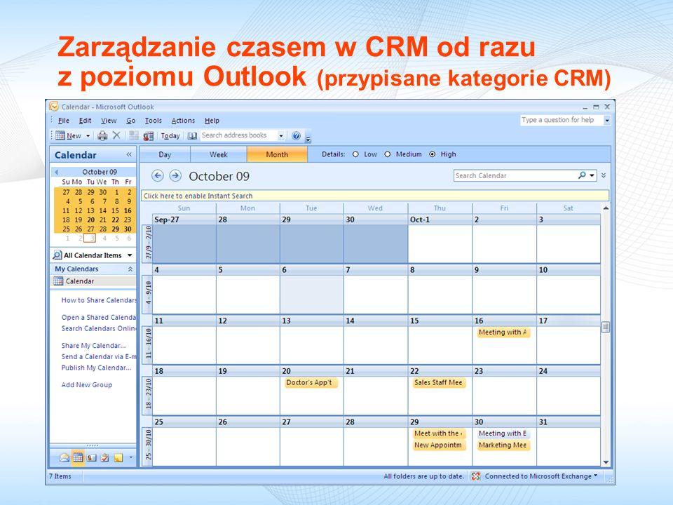 09/18/09 Zarządzanie czasem w CRM od razu z poziomu Outlook (przypisane kategorie CRM)