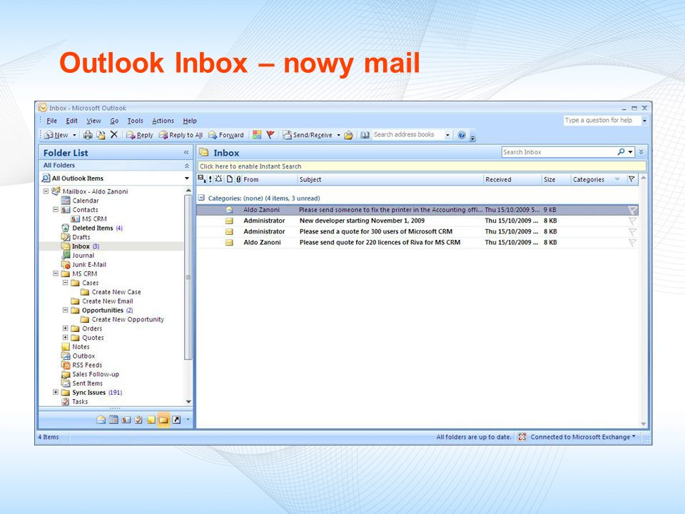 Outlook Inbox – nowy mail