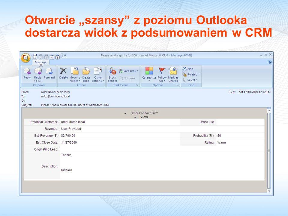 """09/18/09 Otwarcie """"szansy z poziomu Outlooka dostarcza widok z podsumowaniem w CRM"""