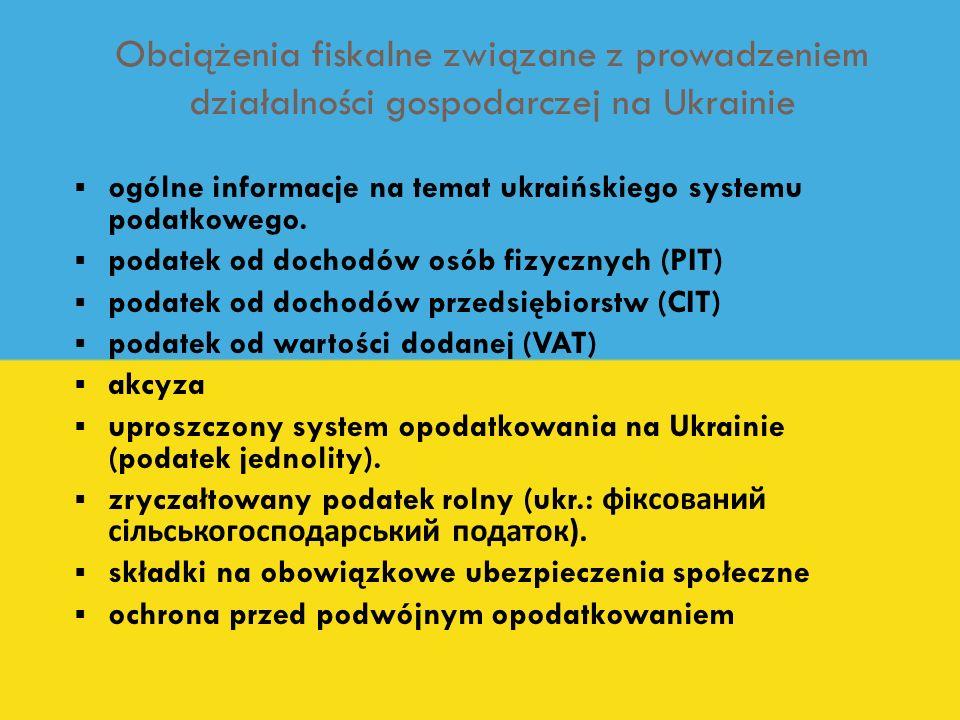 Obciążenia fiskalne związane z prowadzeniem działalności gospodarczej na Ukrainie