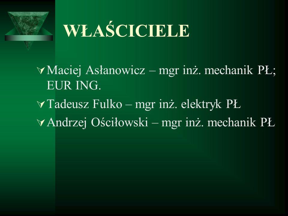 WŁAŚCICIELE Maciej Asłanowicz – mgr inż. mechanik PŁ; EUR ING.