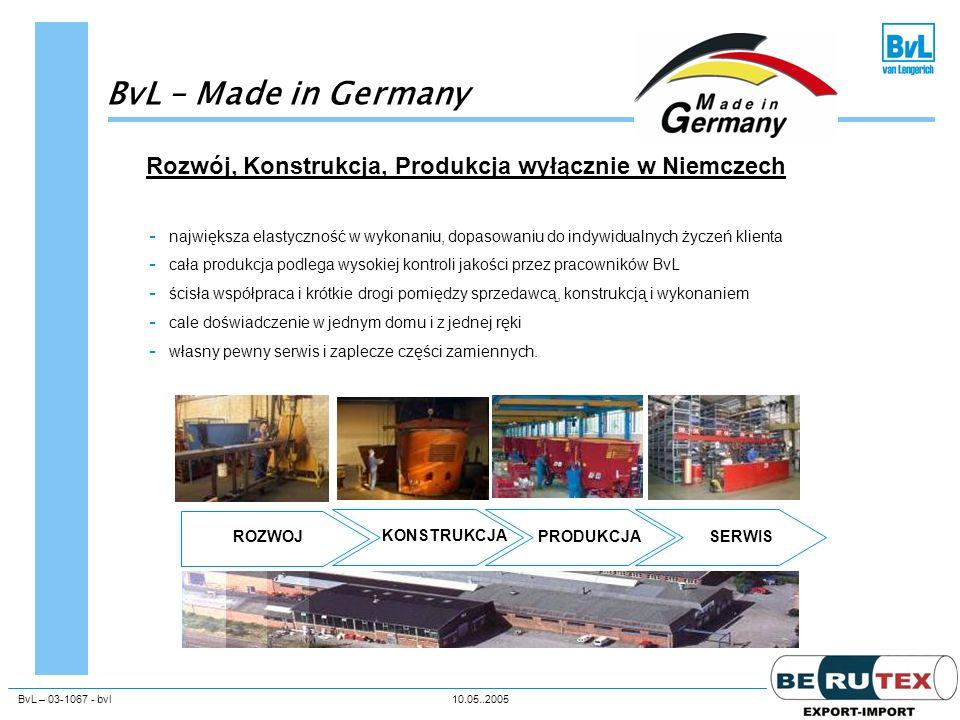 BvL – Made in Germany Rozwój, Konstrukcja, Produkcja wyłącznie w Niemczech.