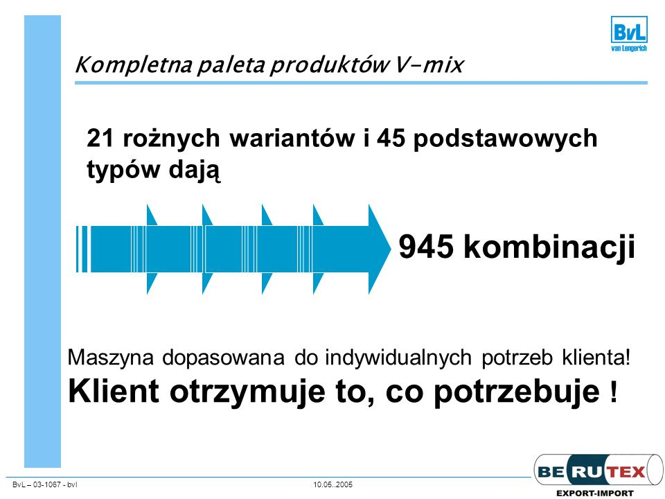 945 kombinacji 21 rożnych wariantów i 45 podstawowych typów dają