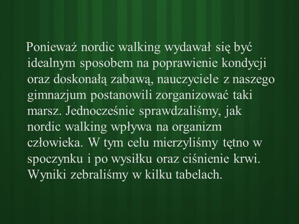 Ponieważ nordic walking wydawał się być idealnym sposobem na poprawienie kondycji oraz doskonałą zabawą, nauczyciele z naszego gimnazjum postanowili zorganizować taki marsz.