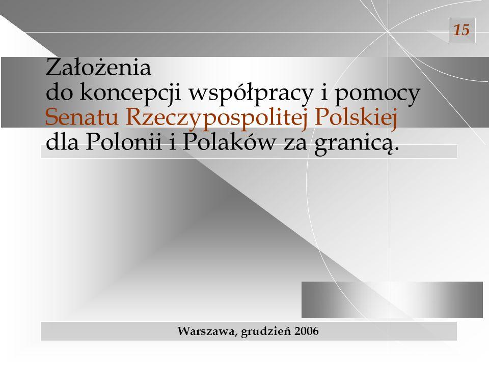 15 Założenia do koncepcji współpracy i pomocy Senatu Rzeczypospolitej Polskiej dla Polonii i Polaków za granicą.