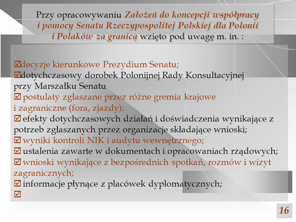 Przy opracowywaniu Założeń do koncepcji współpracy i pomocy Senatu Rzeczypospolitej Polskiej dla Polonii i Polaków za granicą wzięto pod uwagę m. in. :