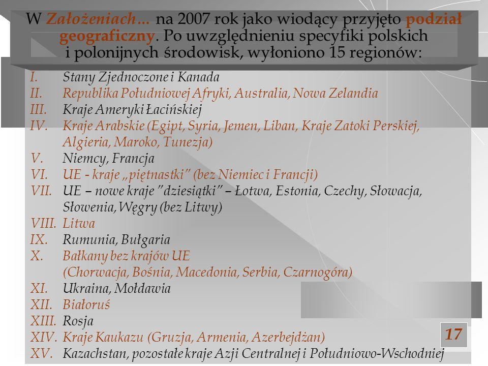 W Założeniach… na 2007 rok jako wiodący przyjęto podział geograficzny