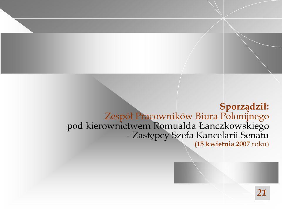 Sporządził: Zespół Pracowników Biura Polonijnego pod kierownictwem Romualda Łanczkowskiego - Zastępcy Szefa Kancelarii Senatu (15 kwietnia 2007 roku)