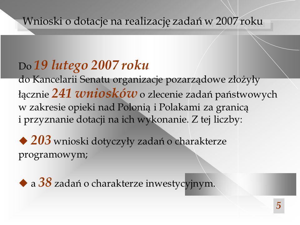 Wnioski o dotacje na realizację zadań w 2007 roku