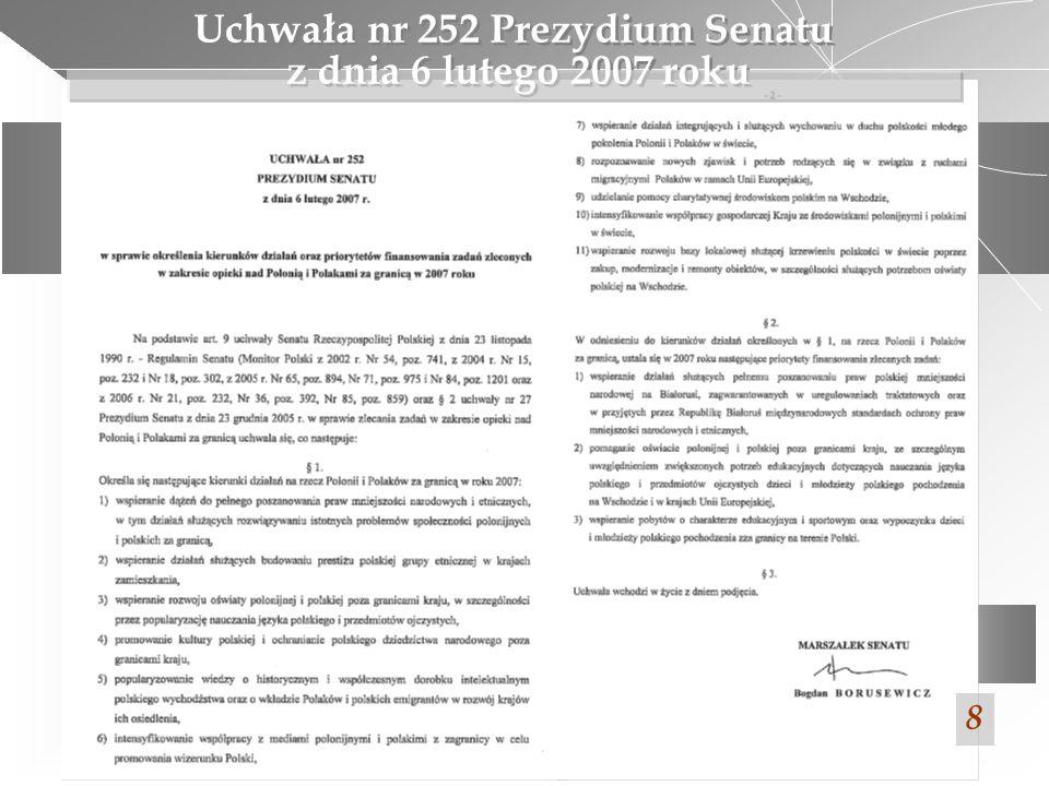 Uchwała nr 252 Prezydium Senatu z dnia 6 lutego 2007 roku