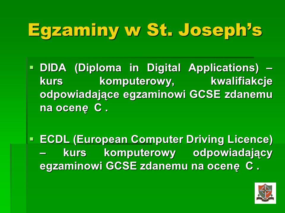 Egzaminy w St. Joseph's DIDA (Diploma in Digital Applications) –kurs komputerowy, kwalifiakcje odpowiadające egzaminowi GCSE zdanemu na ocenę C .